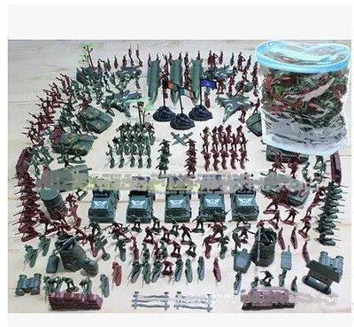 ☜男神閣☞二戰軍事兵人模型套裝 PVC袋 307件套裝4釐米小兵人塑膠玩具