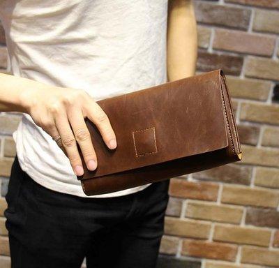 新款時尚歐美復古手拿包  男包手包 簡約信封包男士手機檔包