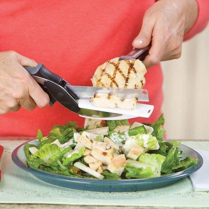 ☆ 恩祐小鋪-Clever cutter不銹鋼蔬菜剪刀廚房神器 食物剪 剪刀+砧板二合一 剪刀 @ 【生活小物系列 】