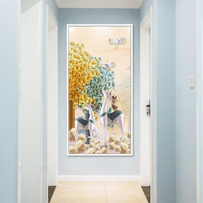 文藝 家飾 掛畫 裝飾畫 背景墻 現代簡約走道玄關畫豎版走廊墻面裝飾畫樓梯過道掛畫麋鹿風水寓意 米斯特芳