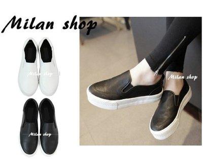 ☆Milan Shop☆網路最低價 韓國帶回Korea店面推薦款 超好穿皮革厚底休閒懶人鞋樂福鞋$790(免運)