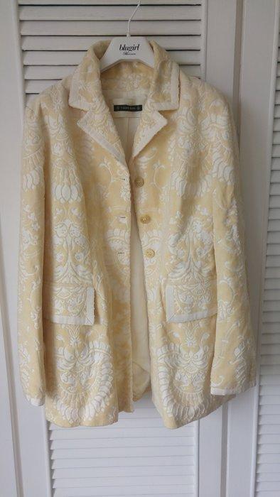 全新Plein Sud 立體乳黃織花百合白軟質西裝式短大衣