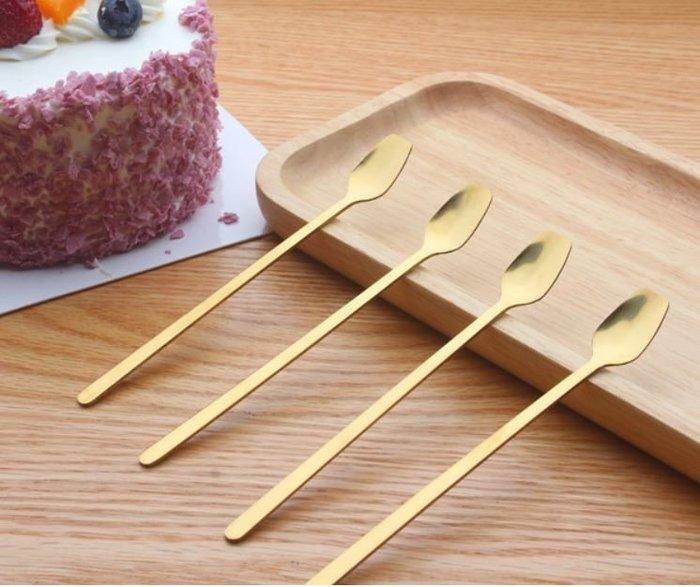 ANLIFE〉不鏽鋼攪拌匙 金色質感餐具 咖啡攪拌勺 簡約歐式馬克杯湯匙甜點湯匙E101