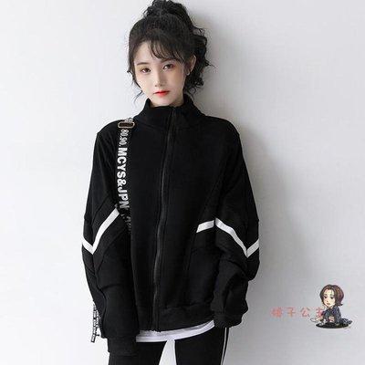 棒球外套女 2020秋季新款復古港風黑色外套女韓版BF開衫超火CEC棒球服潮