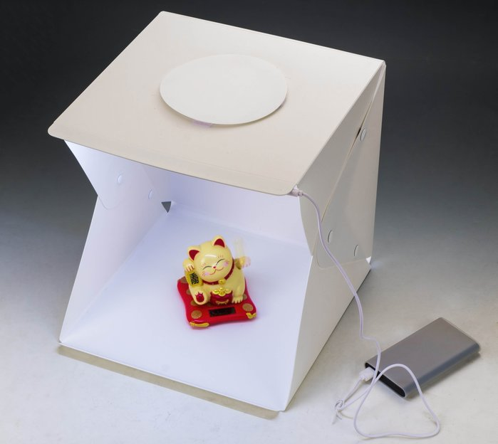 呈現攝影-LED燈折疊柔光攝影棚 30x30cm 一排燈 折疊可攜式專業攝影棚  附2色背景