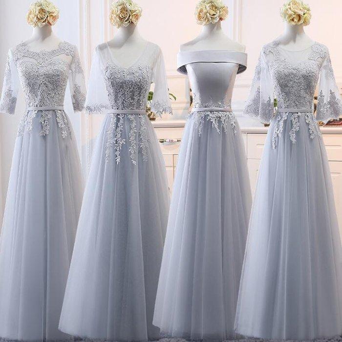 婚禮洋裝 長禮服 伴娘服中長款韓版灰色姐妹團伴娘禮服 連身裙 婚禮閨蜜裝 晚禮服—莎芭