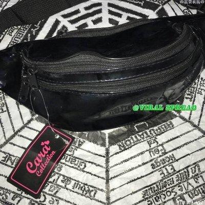 の霓裳衣坊の VIRAL SPREAD包郵出口百搭漆皮全黑胸包腰包兩用街頭嘻哈滑板YT921
