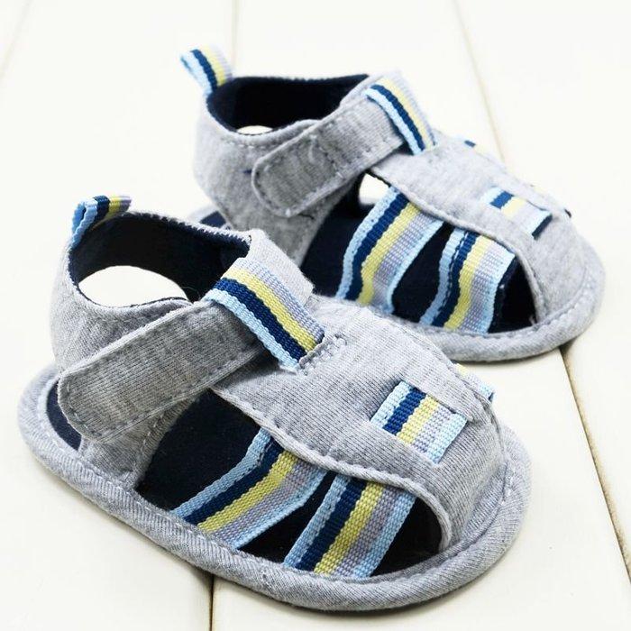 森林寶貝屋~灰色休閒包頭涼鞋~學步鞋~幼兒鞋~寶寶鞋~娃娃鞋~學走鞋~童鞋~粘扣設計~穿脫方便~彌月送贈禮
