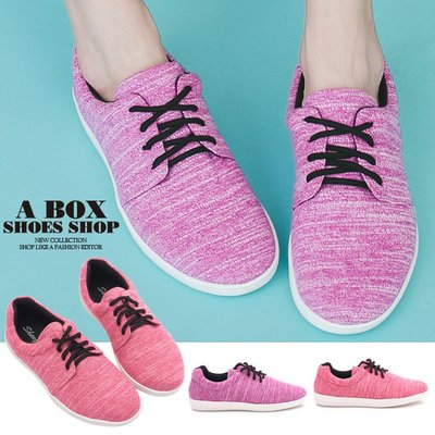 格子舖*【AA6003】綁帶休閒鞋 運動鞋 布面鞋 粉色系混色布面材質 MIT台灣製 2色