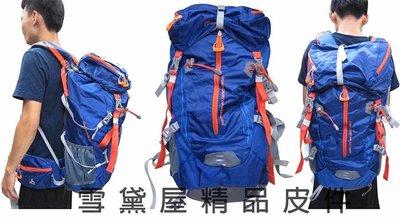 ~雪黛屋~Mountaintop 後背包可調整耐磨超輕50L登山包附雨衣罩內立體撐板可拆進口超輕防水尼龍布MPA6910