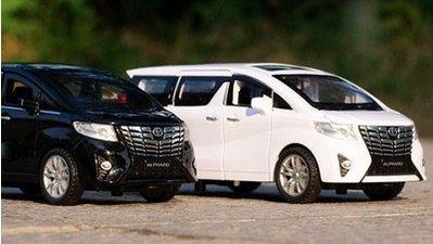 「車苑模型」嘉業合金車模兒童玩具 Toyota alphard MPV 商務車迴力聲光開門