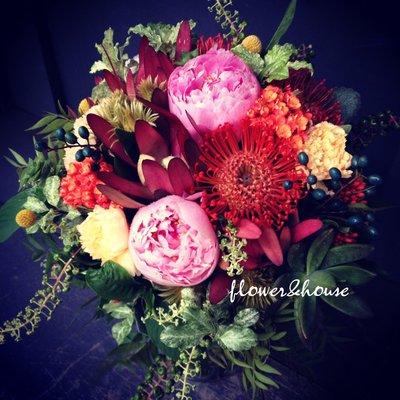F38。季節限定。森林系拍照捧花。結婚捧花。客製新娘捧花。台北自取【Flower&House花藝之家】