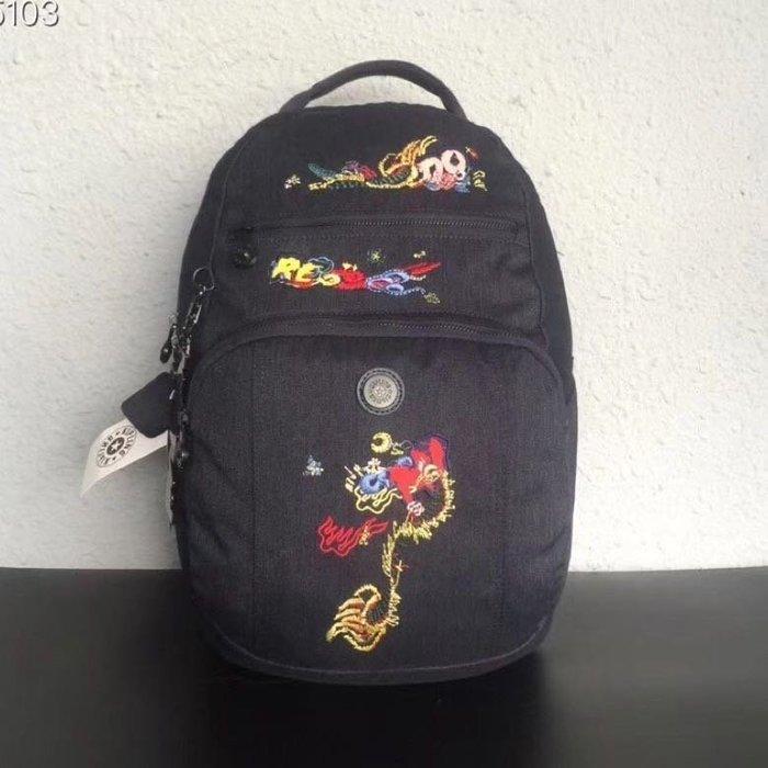Kipling 刺繡風 K13321 猴子包 拉鍊夾層輕量雙肩後背包 背面可插行李箱 電腦包 防水 大款 限時優惠