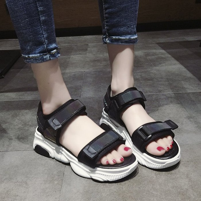 創意夏季女鞋 小熊底運動涼鞋女夏季平底新款百搭魔術貼厚底女士休閑沙灘鞋