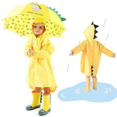 艾莉小舖 enbihouse恐龍造型兒童雨衣雨披 3D立體兒童雨衣雨披送收納袋