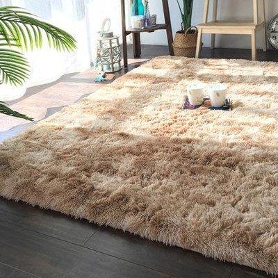 雜色扎染漸變地毯客廳茶幾墊網紅長毛可水...