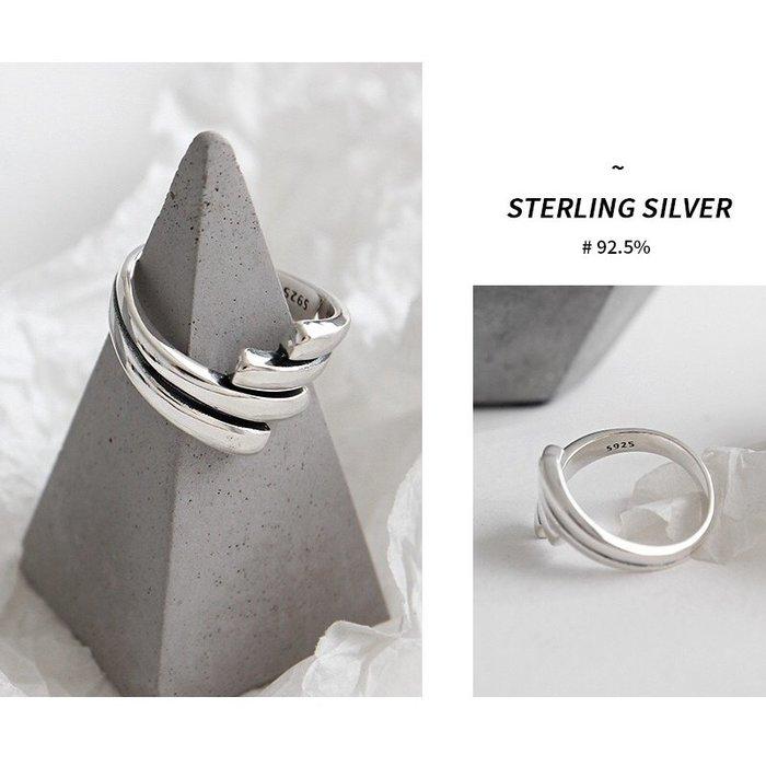 《現貨》925純銀 復古做舊個性開口戒 戒指 生日情人禮 母親節禮物 附禮盒 銀布 Baonizi