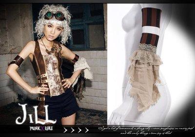 Oo吉兒oO蒸氣龐克RQBL新維多利亞 兩件式彈性袖套手環蕾絲 steampunk 單邊 黑條【JR035BC】