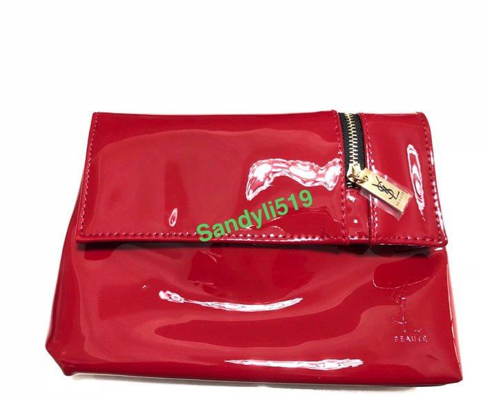 YSL 聖羅蘭 經典Logo 時尚紅 漆皮 尺寸14cm/20cm/5cm