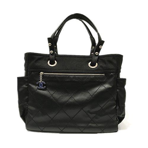 二手旗艦 Chanel Biarritz 比亞里茲 黑色 雙口袋 肩背包 大包(公益店)24502