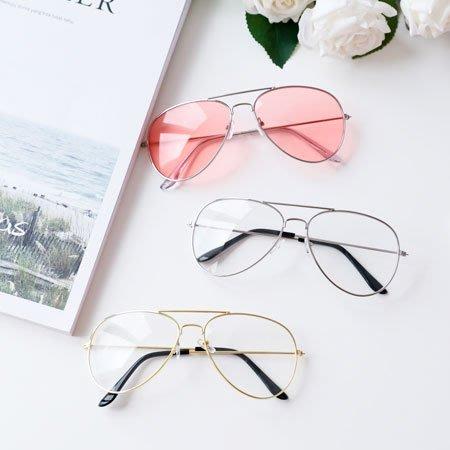 復古經典金屬大框眼鏡 細框 平光眼鏡 太陽眼鏡 造型 文青 類似雷朋經典飛官款【SA Girl】