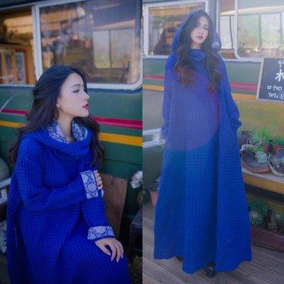 旗袍 新款女裝原創複古民族風巫師帽寬松袍子長袖連身裙長裙—莎芭