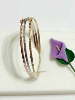 *金色風暴*~ 義大利585K金 ~三色細版閃亮手環 ~  造型,14k手鍊,不褪色,送禮,送人,女生最愛