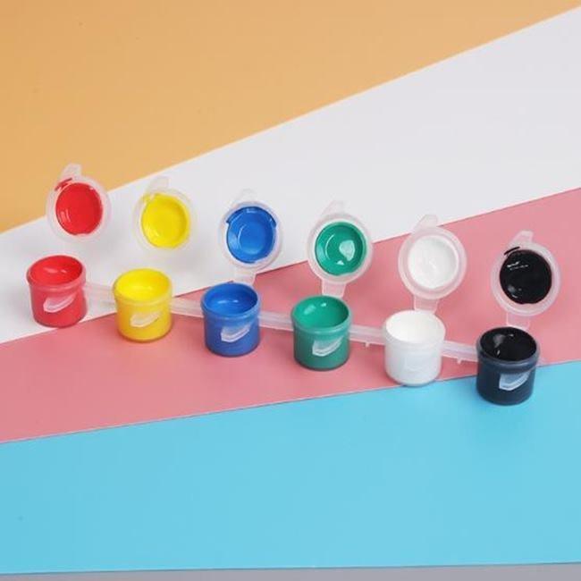 顏料 廣告顏料 壓克力顏料 3ML顏料(6色+1筆) 顏色鮮豔 水彩畫 紙面具顏料 水彩【塔克百貨】