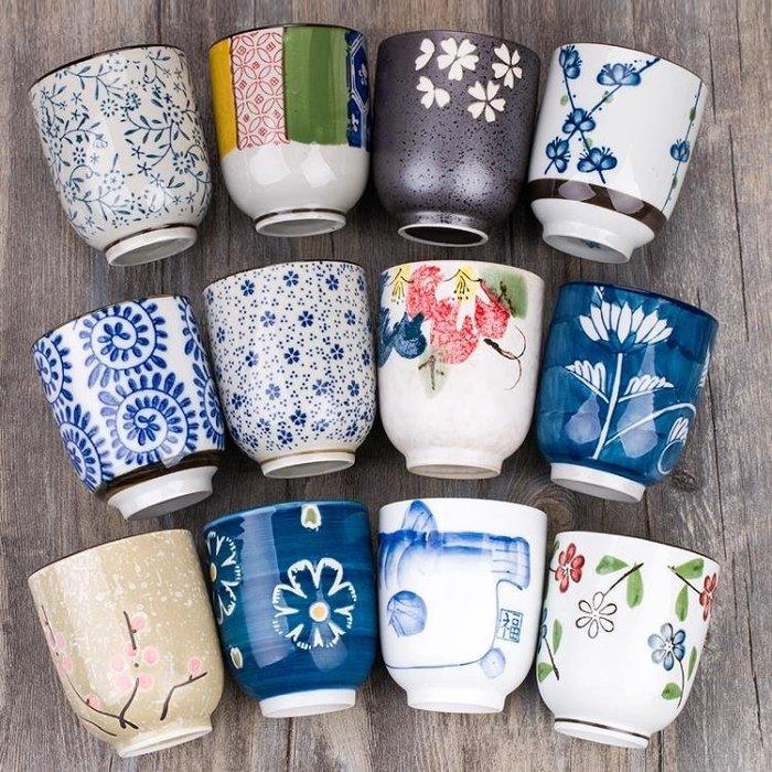 日式茶杯水杯杯子杯具隨手杯手繪陶瓷櫻花杯 粗陶茶杯  交換禮物 咖啡杯 水晶杯 馬克杯