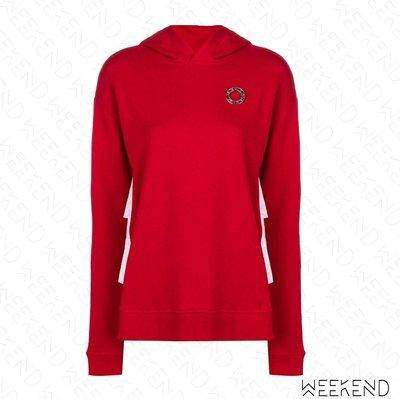 【WEEKEND】 KARL LAGERFELD Ruffled 拼接 荷葉背後 卡爾 衛衣 帽T 紅+白色 19春夏