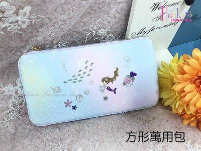 ☆[Hankaro]☆流行可愛刺繡美人魚圖案方形萬用收納包