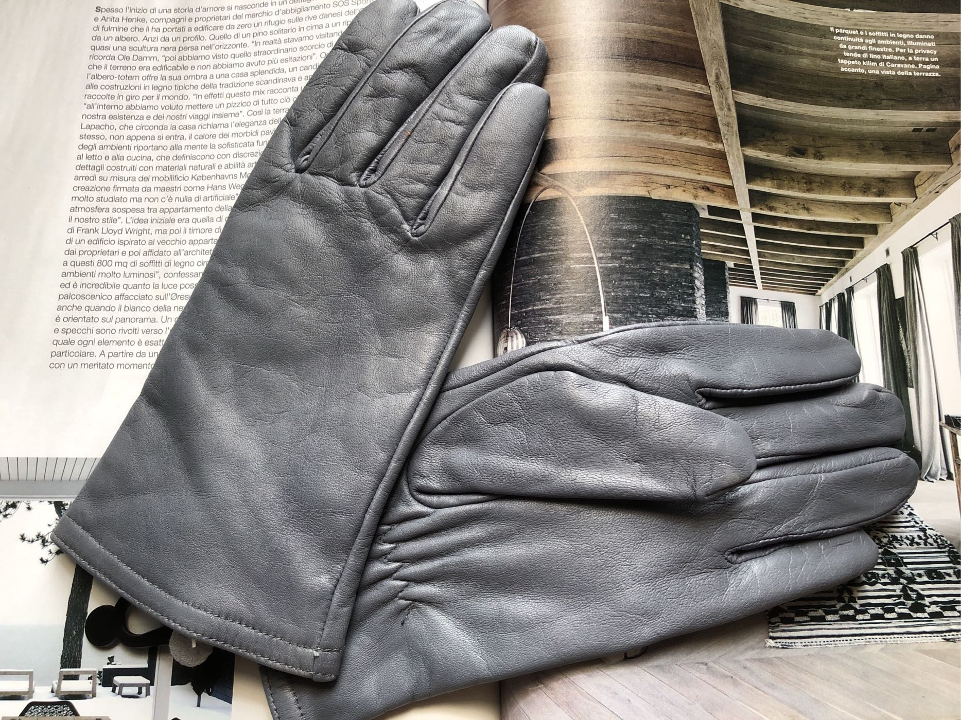 紐約攜回thinsulate 女仕灰色皮製手套