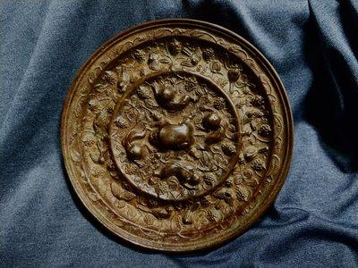 老銅雕◎  海獸葡萄 青銅鏡