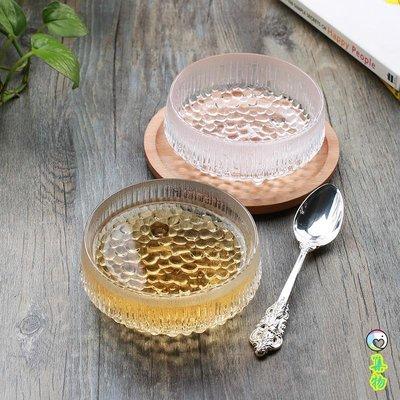冰晶浮雕玻璃甜品碗 北歐風無鉛水晶家用淺口小湯碗沙拉燕窩粥碗