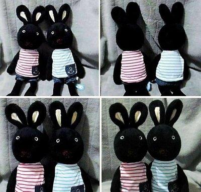 牛牛ㄉ媽*法國兔玩偶一對 海洋船錨褲裝黑色兔寶寶款 不拆開一起賣 63cm求婚送禮自用生日禮物