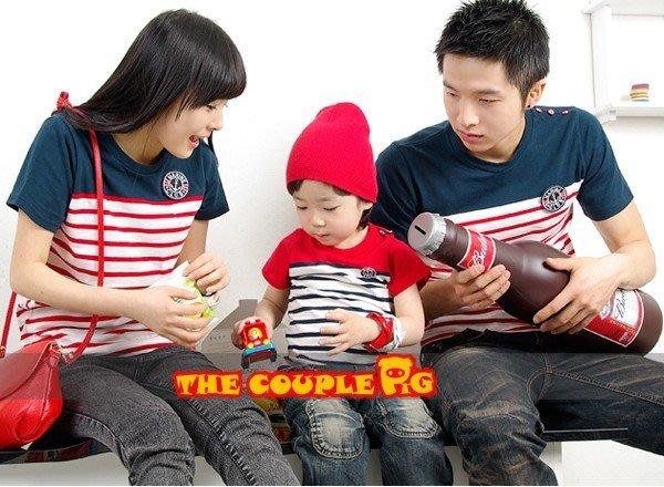 【零碼出清。恕不退換】韓版CP-S28《徽章條文》短袖款親子裝♥情侶裝