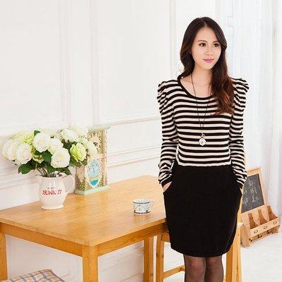 韓版大碼針織包臀連身裙 條紋拼接 長袖泡泡袖