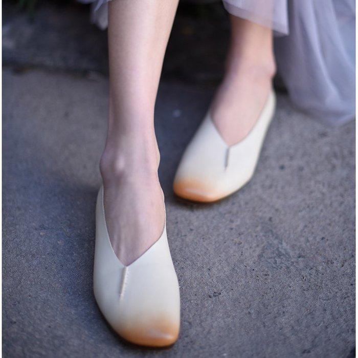 ~皮皮創~原創設計手工女鞋。真皮懶人鞋簡約文藝頭層牛皮四季單鞋休閒平底鞋