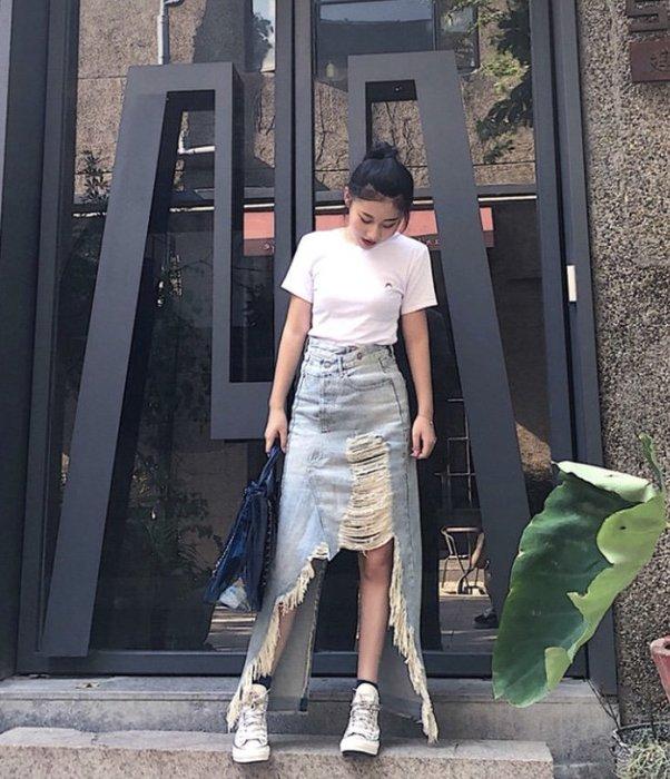 【代購】超級美 特價 R13  仿舊破壞 牛仔裙