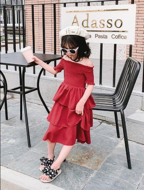 中大童 思家良品 童裝 女童裝 2019/5/24夏裝新品100-165CM 韓版親子女童 一字肩蛋糕裙 連衣裙 紅色