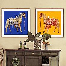 現代美式歐式複古駿馬圖裝飾畫畫芯客廳餐廳書房掛畫