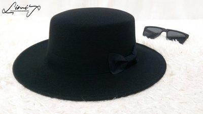 黑色平頂可調寬沿紳士帽 硬頂 Wide brim hat 歐美 百搭 古著 復古 毛呢  寬沿 大帽簷 【LtLf】