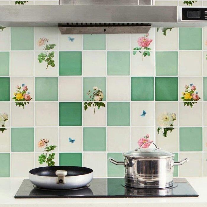 粉紅玫瑰精品屋~厨房灶台吸油煙機防油貼紙74×45耐高温鋁箔瓷磚防水自黏貼紙~