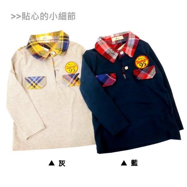 【班比納精品童裝】95徽章格紋POLO衫-藍/灰--兩色可選