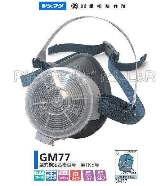 【米勒線上購物】日本 重松 GM-77ME 單罐式半面罩防毒面具 附有機粉塵罐 可水洗
