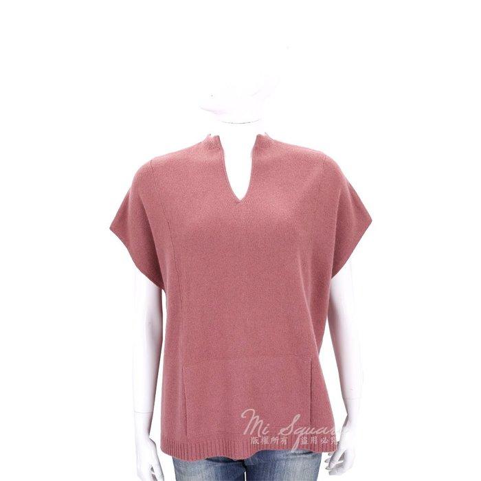 米蘭廣場 ALLUDE 莓紅色前短後長設計短袖羊毛針織上衣(70%WOOL) 1710089-21