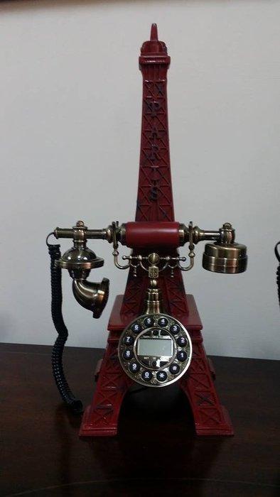 美生活館全新古典鄉村復古巴黎鐵塔造型電話有線電話復古刷舊樹脂POLY居家擺飾店面民宿櫥窗拍照佈置兩色可選-紅色