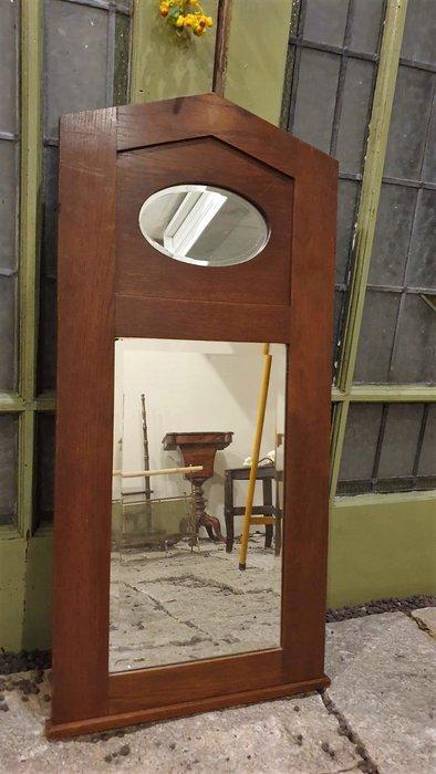 【卡卡頌  歐洲古董】英國老件~ 橡木實木  雕刻  倒角  特殊造型  掛鏡   MI0070 ✬
