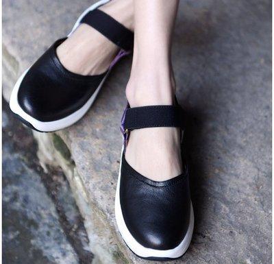 ~皮皮創~原創設計手工女鞋。真皮露後跟...