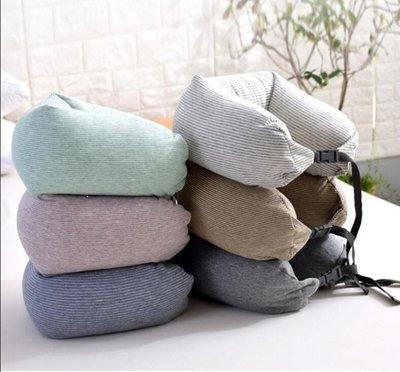 YEAHSHOP U型棉質枕頭飛機旅行護頸枕頸椎枕睡覺眼罩便攜充氣U形脖枕護脖子817762Y185